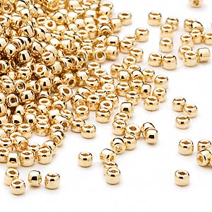seed bead, dyna-mites™, glass, opaque 24kt gold-plated, #11 round. sold per 40-gram pkg.