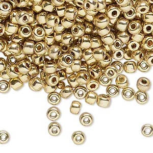 seed bead, dyna-mites™, glass, opaque 24kt gold-plated, #6 round. sold per 1/2 kilogram pkg.