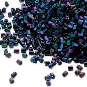 seed bead, dyna-mites™, glass, opaque iris blue, #11 hex 2-cut. sold per 1/2 kilogram pkg.