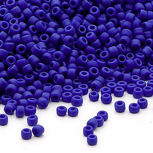 seed bead, dyna-mites™, glass, opaque matte dark blue, #11 round. sold per 1/2 kilogram pkg.