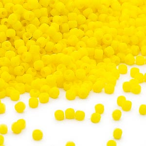 seed bead, dyna-mites™, glass, opaque matte yellow, #11 round. sold per 40-gram pkg.