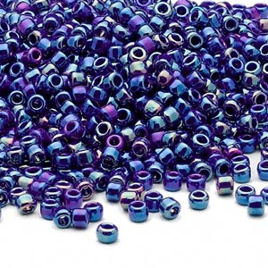 seed bead, dyna-mites™, glass, opaque rainbow cobalt, #8 round. sold per 40-gram pkg.