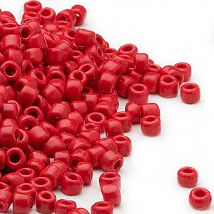 seed bead, dyna-mites™, glass, opaque red, #6 round. sold per 40-gram pkg.