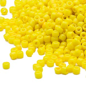 seed bead, dyna-mites™, glass, opaque yellow, #8 round. sold per 40-gram pkg.