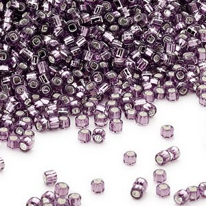 seed bead, dyna-mites™, glass, silver-lined translucent amethyst purple, #11 round with square hole. sold per 40-gram pkg.