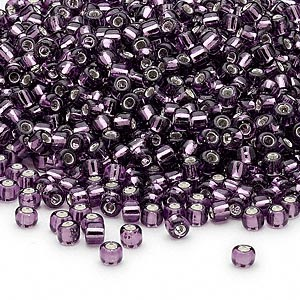seed bead, dyna-mites™, glass, silver-lined translucent amethyst purple, #8 round. sold per 40-gram pkg.
