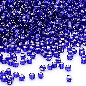 seed bead, dyna-mites™, glass, silver-lined translucent cobalt, #11 round with square hole. sold per 1/2 kilogram pkg.