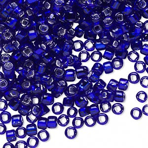 seed bead, dyna-mites™, glass, silver-lined translucent cobalt, #6 round with square hole. sold per 40-gram pkg.