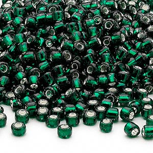 seed bead, dyna-mites™, glass, silver-lined translucent dark green, #6 round. sold per 1/2 kilogram pkg.