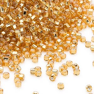 seed bead, dyna-mites™, glass, silver-lined translucent gold, #11 round with square hole. sold per 40-gram pkg.