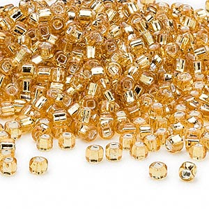 seed bead, dyna-mites™, glass, silver-lined translucent gold, #6 round with square hole. sold per 40-gram pkg.