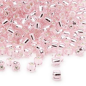 seed bead, dyna-mites™, glass, silver-lined translucent light pink, #6 round. sold per 40-gram pkg.