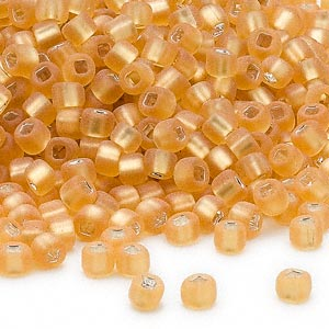 seed bead, dyna-mites™, glass, silver-lined translucent matte gold, #6 round with square hole. sold per 40-gram pkg.