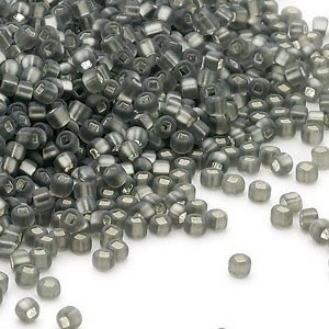 seed bead, dyna-mites™, glass, silver-lined translucent matte gunmetal, #11 round with square hole. sold per 40-gram pkg.