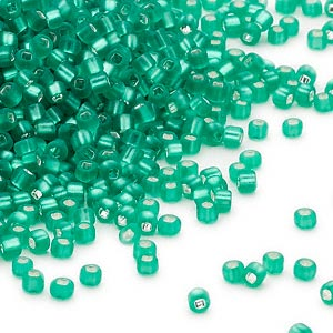seed bead, dyna-mites™, glass, silver-lined translucent matte jade green, #11 round with square hole. sold per 40-gram pkg.