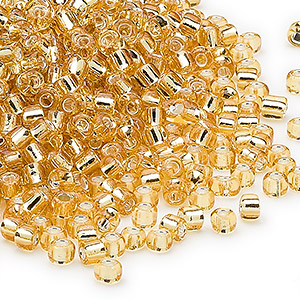 seed bead, dyna-mites™, glass, silver-lined translucent medium gold, #8 round. sold per 40-gram pkg.