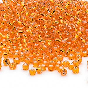 seed bead, dyna-mites™, glass, silver-lined translucent orange, #8 round. sold per 1/2 kilogram pkg.