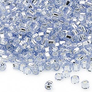 seed bead, dyna-mites™, glass, silver-lined translucent pale blue, #6 round with square hole. sold per 1/2 kilogram pkg.