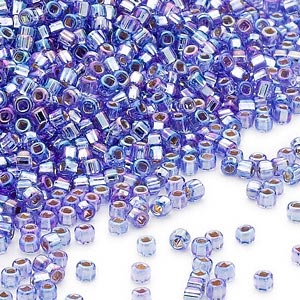 seed bead, dyna-mites™, glass, silver-lined translucent rainbow blue, #11 round with square hole. sold per 40-gram pkg.