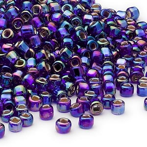 seed bead, dyna-mites™, glass, silver-lined translucent rainbow cobalt, #6 round with square hole. sold per 1/2 kilogram pkg.