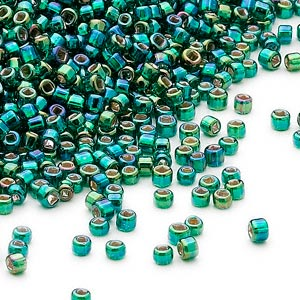seed bead, dyna-mites™, glass, silver-lined translucent rainbow dark green, #11 round with square hole. sold per 40-gram pkg.