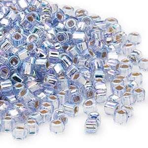 seed bead, dyna-mites™, glass, silver-lined translucent rainbow light grey, #6 round with square hole. sold per 40-gram pkg.