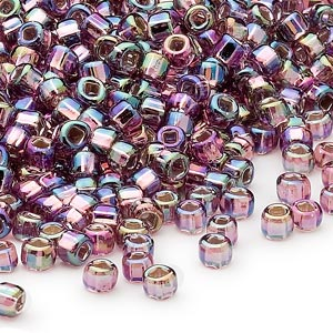 seed bead, dyna-mites™, glass, silver-lined translucent rainbow light purple, #6 round with square hole. sold per 1/2 kilogram pkg.