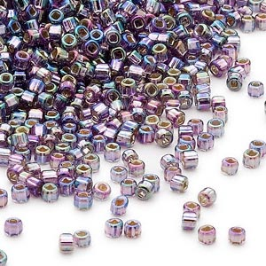 seed bead, dyna-mites™, glass, silver-lined translucent rainbow purple, #11 round with square hole. sold per 40-gram pkg.