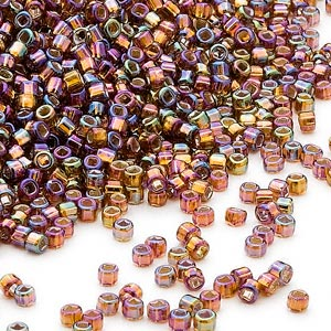 seed bead, dyna-mites™, glass, silver-lined translucent rainbow root beer, #11 round with square hole. sold per 40-gram pkg.