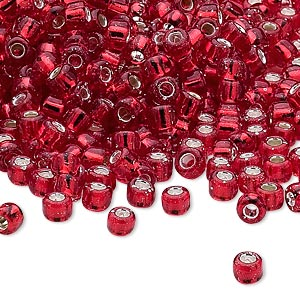seed bead, dyna-mites™, glass, silver-lined translucent ruby red, #6 round. sold per 40-gram pkg.