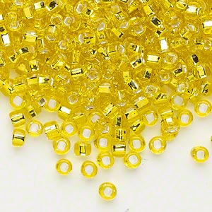 seed bead, dyna-mites™, glass, silver-lined translucent yellow, #6 round with square hole. sold per 40-gram pkg.