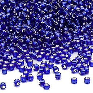 seed bead, dyna-mites™, glass, silver-lined transparent cobalt, #11 round. sold per 40-gram pkg.