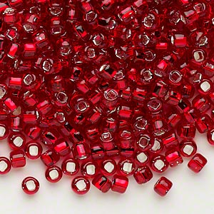 seed bead, dyna-mites™, glass, silver-lined transparent ruby red, #6 round with square hole. sold per 40-gram pkg.