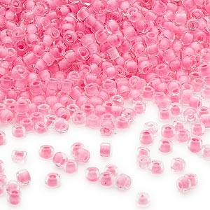 seed bead, dyna-mites™, glass, translucent inside color, dusty rose, #11 round. sold per 1/2 kilogram pkg.