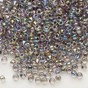 seed bead, dyna-mites™, glass, translucent inside color rainbow peacock, #8 round. sold per 40-gram pkg.