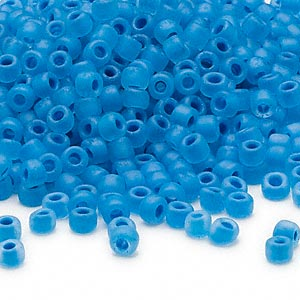 seed bead, dyna-mites™, glass, translucent matte inside color aqua, #6 round. sold per 40-gram pkg.