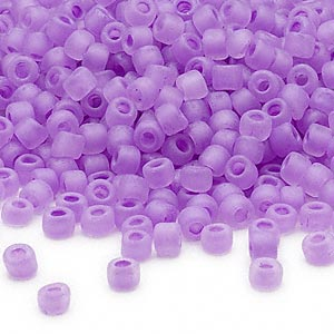 seed bead, dyna-mites™, glass, translucent matte inside color lilac, #6 round. sold per 40-gram pkg.