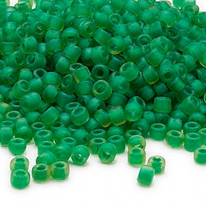 seed bead, dyna-mites™, glass, translucent matte inside color lime green, #6 round. sold per 40-gram pkg.