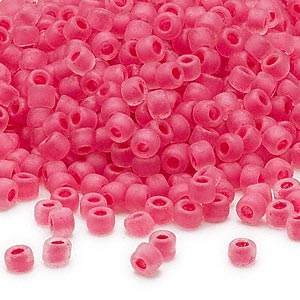 seed bead, dyna-mites™, glass, translucent matte inside color pink, #6 round. sold per 40-gram pkg.