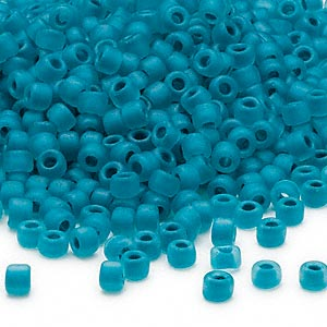 seed bead, dyna-mites™, glass, translucent matte inside color turquoise blue, #6 round. sold per 40-gram pkg.