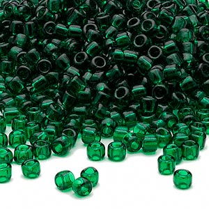 seed bead, dyna-mites™, glass, transparent emerald green, #6 round. sold per 40-gram pkg.