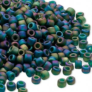 seed bead, dyna-mites™, glass, transparent frosted rainbow peacock, #6 round. sold per 40-gram pkg.
