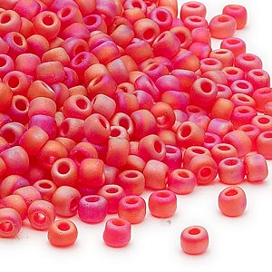 seed bead, dyna-mites™, glass, transparent frosted rainbow red, #6 round. sold per 1/2 kilogram pkg.