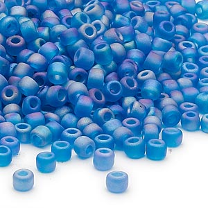 seed bead, dyna-mites™, glass, transparent frosted rainbow teal, #6 round. sold per 1/2 kilogram pkg.