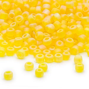 seed bead, dyna-mites™, glass, transparent frosted rainbow yellow, #6 round. sold per 40-gram pkg.