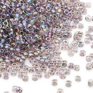 seed bead, dyna-mites™, glass, transparent inside color rainbow peacock, #11 round. sold per 40-gram pkg.