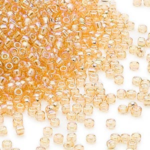 seed bead, dyna-mites™, glass, transparent rainbow amber yellow, #11 round. sold per 40-gram pkg.