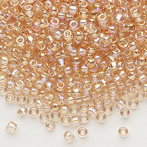 seed bead, dyna-mites™, glass, transparent rainbow cream soda, #8 round. sold per 40-gram pkg.