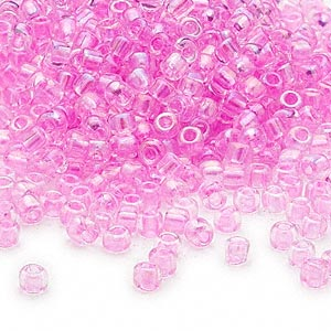 seed bead, dyna-mites™, glass, transparent rainbow inside color dusty rose, #6 round. sold per 40-gram pkg.
