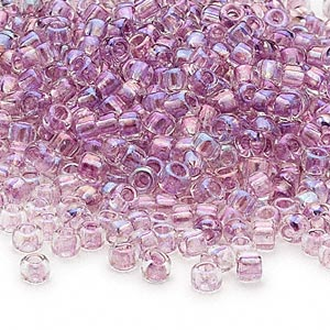 seed bead, dyna-mites™, glass, transparent rainbow inside color lavender, #6 round. sold per 40-gram pkg.